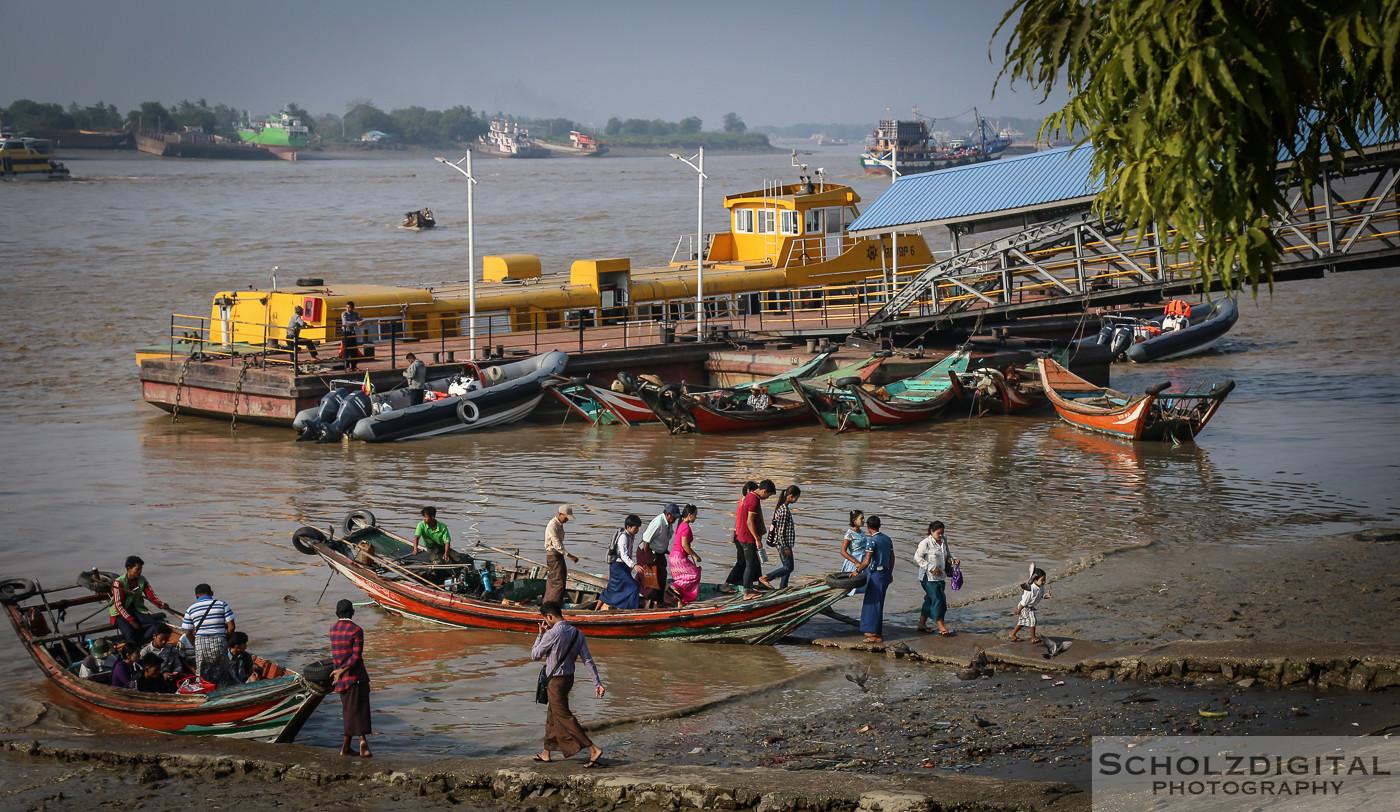 Exploring, Yangon, Travelling, Myanmar, Birma, Burma, Rangun, Hafen, Boote